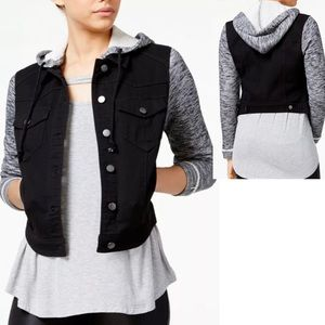 Tinseltown French Terry Hooded Black Denim Jacket